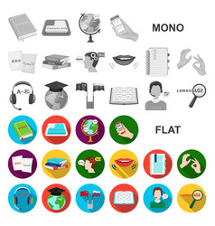 Translator and linguist flat icons in set vector
