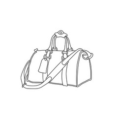 travel bag hand drawn suitcase vector image