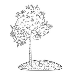 Tree cute nature black and white vector