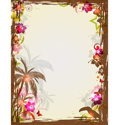 tropical frame with palms and toucan vector image