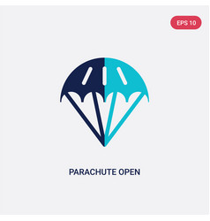 Two color parachute open icon from airport vector