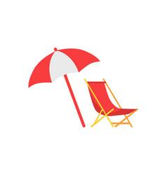 umbrella and deck chair set vector image