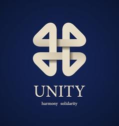 Unity paper quarterfoil icon design template vector