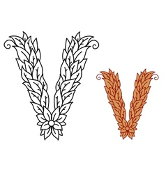 Uppercase letter V in a foliate font vector