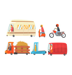 variuos funny cartoon vehicles on road vector image