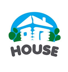 Village house logo on a blue background vector