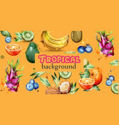 Watercolor fruits banner kiwi banana vector