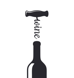 wine bottle with wine corkscrew shape silhouette vector image