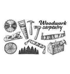Woodwork carpentry collection equipment set vector