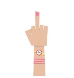 young girl hand with middle finger vector image