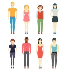 Young men and girls casual style vector image