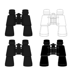 Binoculars icon set vector image