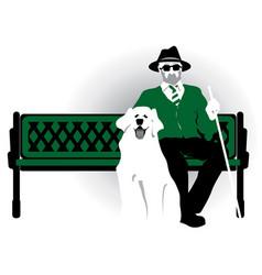 Blind pensioner with a dog old man vector