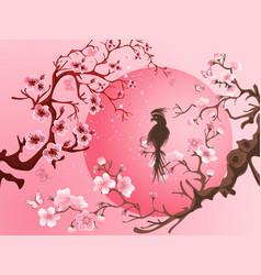 cherry blossom tree with bird vector image