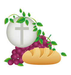 color background with communion religious icons vector image vector image