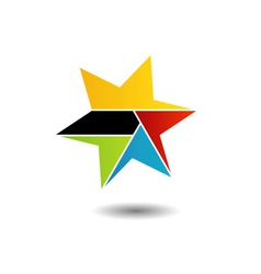 Colorful star logo with six sides vector image