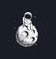 cute little astronaut sits on moon vector image vector image