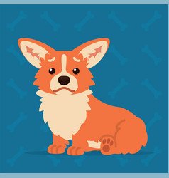 Cute welsh corgi sitting sad element for your vector