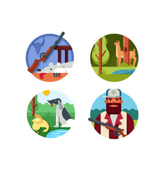 hunting set icons vector image vector image
