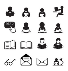 reading icon vector image vector image