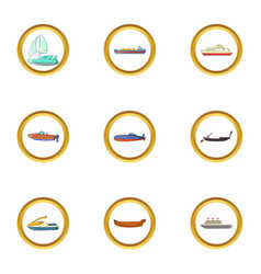 tanker icons set cartoon style vector image vector image