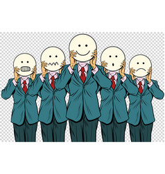 vintage set of smiley face emoji people isolated vector image vector image