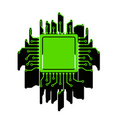 cpu microprocessor green 3d vector image vector image