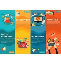 Flat concept banners Social Marketing vector image vector image