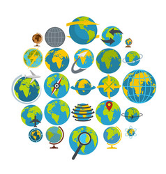 globe earth icons set flat style vector image