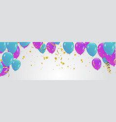 purple and blue confetti and set ribbons bunch vector image