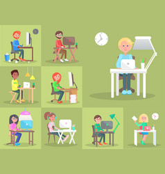 set of people at computer in office cartoon style vector image
