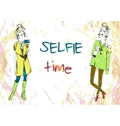 Set of two young fashion women in boho style with vector image