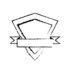 shield element protected stamp sketch vector image