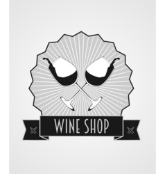Wine shop abstract logo template with two glasses vector image vector image