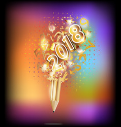 2018 happy new year holiday by pencil idea vector image