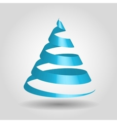 Blue glossy ribbon in a shape of Christmas tree vector image vector image
