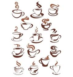 Brown cups of coffee cappuccino espresso latte or vector image