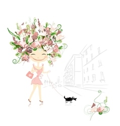 Floral girl with dog on street sketch for your vector image