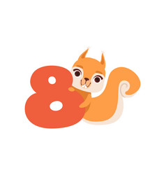 funny cute squirrel animal and number eight vector image vector image