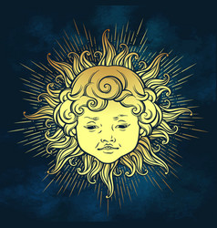 gold sun with face of cute curly smiling baby boy vector image vector image