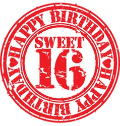 Grunge 16 years happy birthday rubber stamp vector image vector image