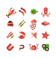 Seafood Isolated Icon Set vector image vector image