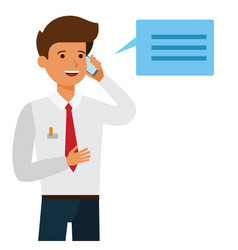 businessman making business call cartoon flat vector image
