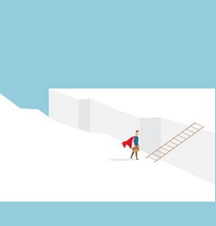 businessman standing at cliff with ladder vector image