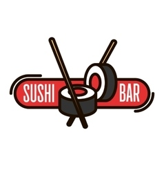 Japanese sushi with chopsticks thin line badge vector image vector image