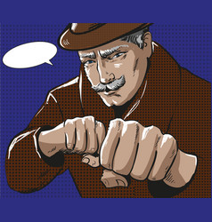 pop art of man with punching vector image