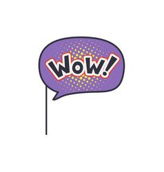wow funny phrase on stick masquerade decorative vector image vector image