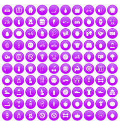 100 fitness icons set purple vector