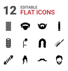 12 hairstyle icons vector