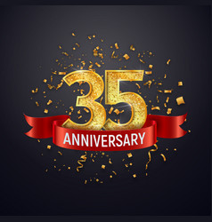 35 years anniversary logo template on dark vector image